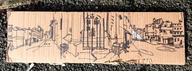 360 drawing on cardboard